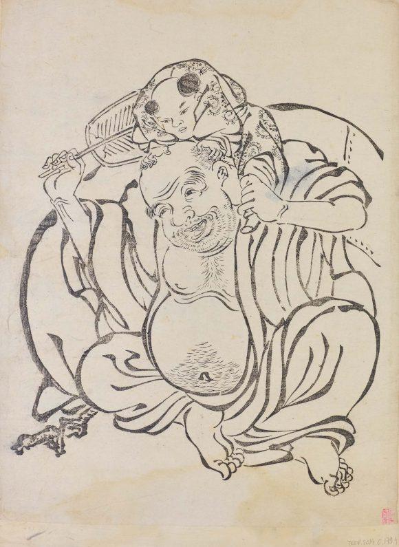 Hotei portant un enfant sur ses épaules, Tanyu Kano
