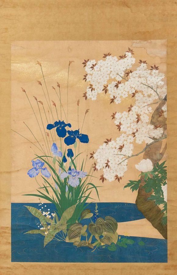 Iris et cerisier en fleur, anonyme
