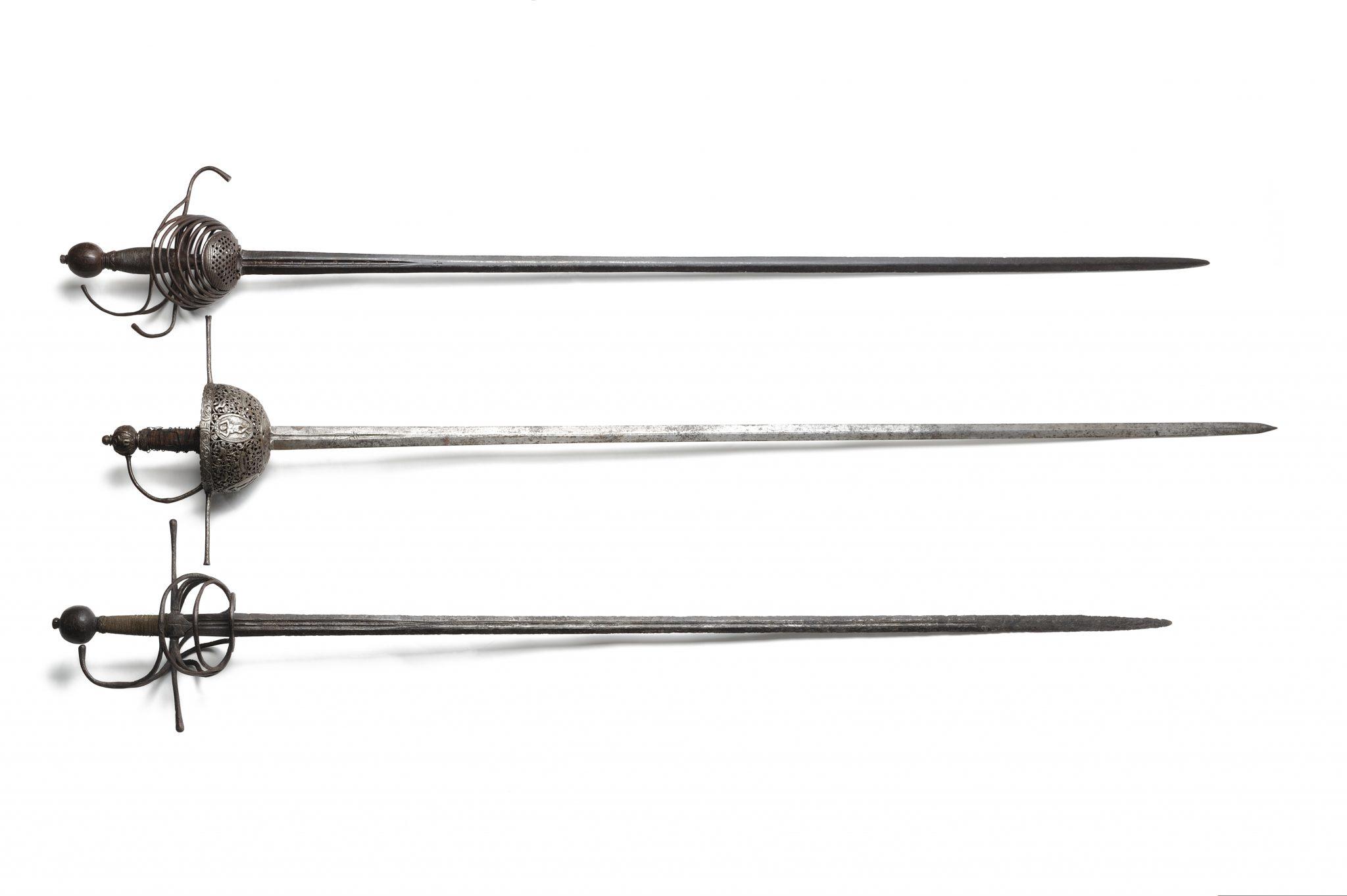 Epées «squelette»,  «a taza» et «rapière»