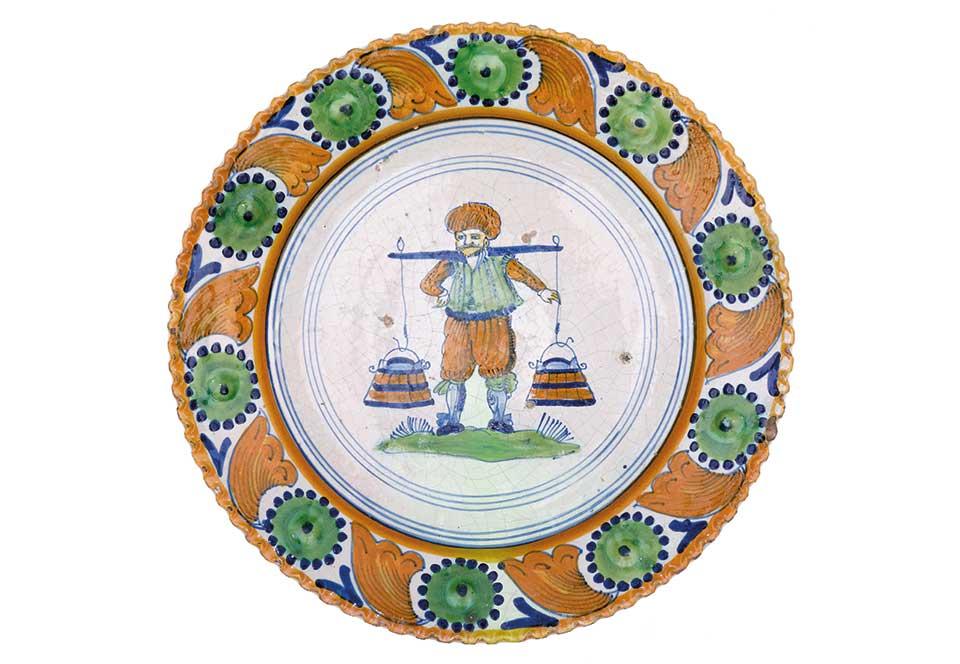 Plat rond au porteur d'eau, Pays-Bas, 17e siècle
