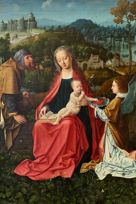 La Sainte Famille et un ange, Maître aux Madones joufflues